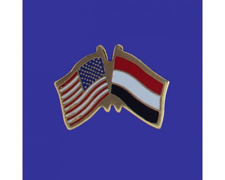 Yemen Lapel Pin (Double Waving Flag w/USA)