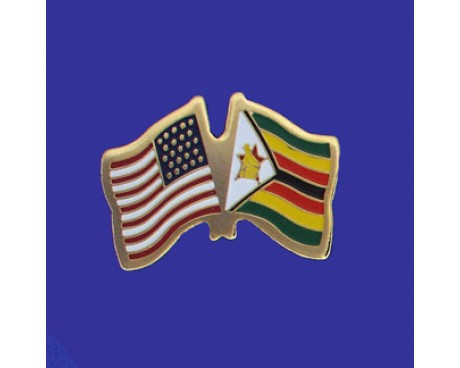 Zimbabwe Lapel Pin (Double Waving Flag w/USA)