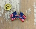 Veteran Lapel Pin Double Waving Flags