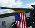 Battle-Tough American Flag on Battle Ship