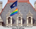 Pride flag on state capitol