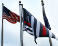 Thin Red Line USA Flag Waving