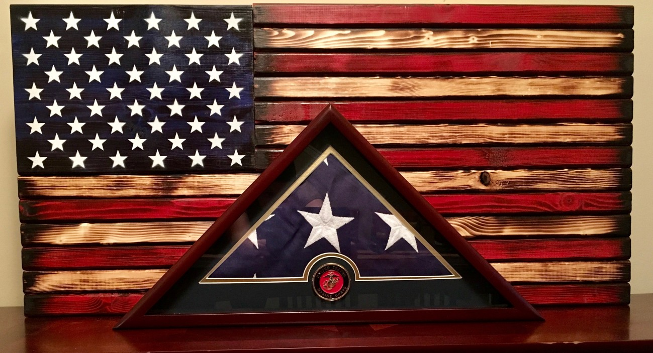 U S Flag Display Case With U S Marine Corps Medallion