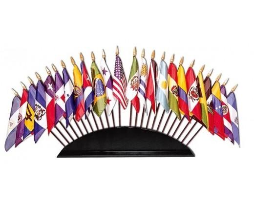 """Black wooden table base for 4x6"""" flags, 36 hole"""