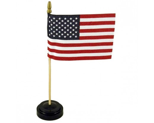 "Black plastic table base for 4x6"" flags, 1 hole with flag"