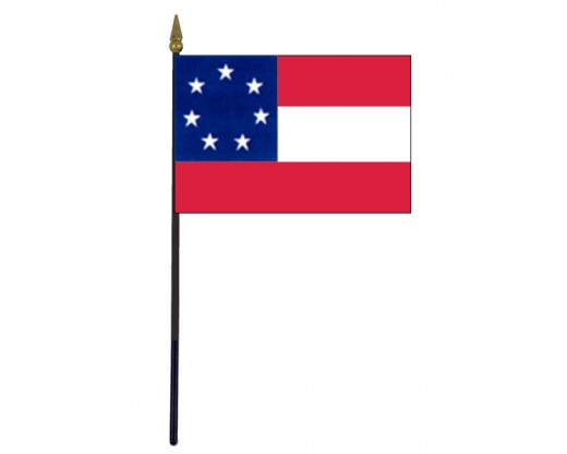 Confederate, 1st National Stick Flag - 4x6""