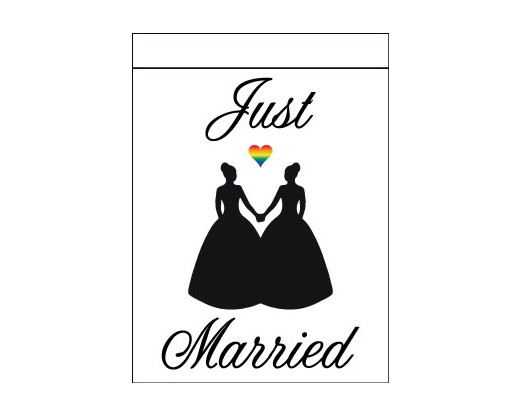 Just Married - Lesbian Flag