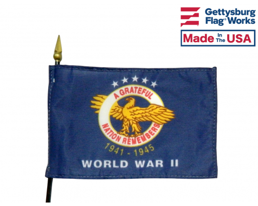 WW II Commemorative Stick Flag - 4x6""