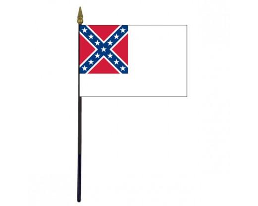 "Confederate, 2nd National Stick Flag - 4x6"""