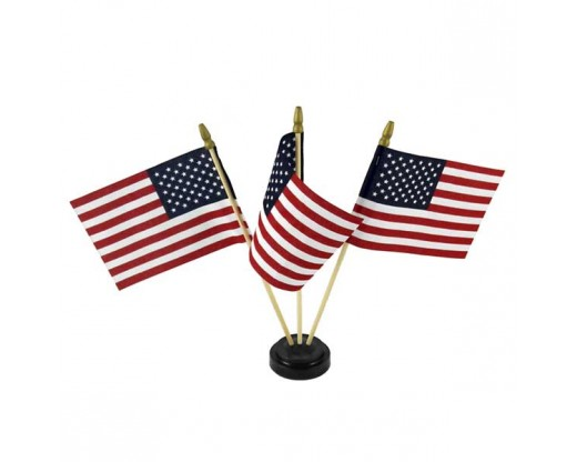 "Black plastic table base for 4x6"" flags, 3 hole with flags"