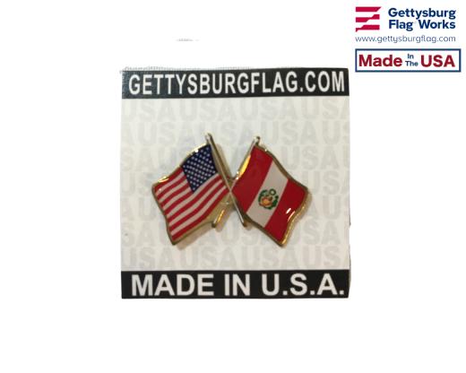 Peru (Seal Design) Lapel Pin (with US Flag)