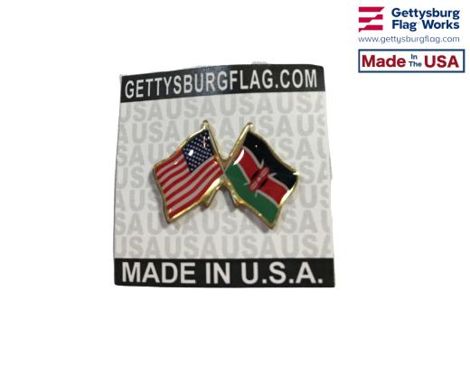 Kenya Lapel Pin (Double Waving with US Flag)