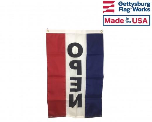 OPEN Flag, Red, White & Blue (Vertical) BACK