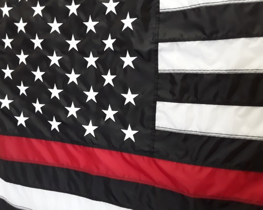 Thin Red Line Embroidered Flag