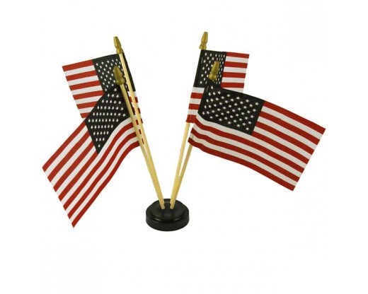 "Black plastic table base for 4x6"" flags, 4 hole with flags"