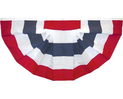 Patriotic Pleated Fan (No Stars) Cotton