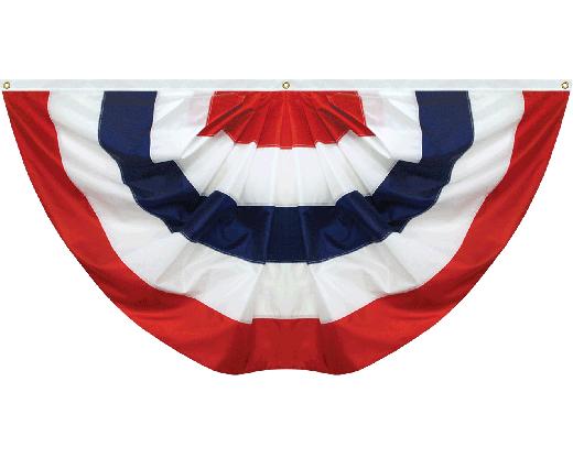 Patriotic Pleated Fan (No Stars) Nylon
