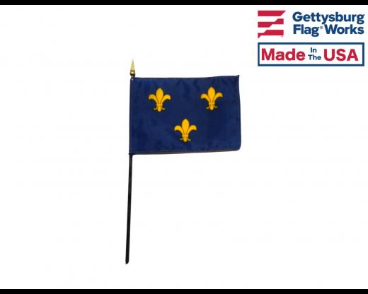 """Fleur-de-lis Stick Flag (Blue 3) - 4x6"""""""