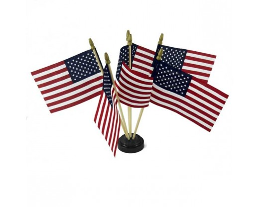 "Black plastic table base for 4x6"" flags, 6 hole with flags"