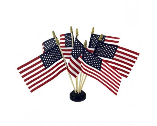 "Black plastic table base for 4x6"" flags, 7 hole with flags"
