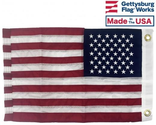 """American Flag, Nylon, Grommets - 12x18"""""""