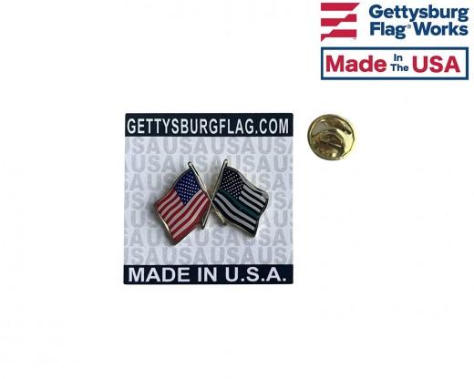 Thin Green Line and US Flag Waving lapel pin