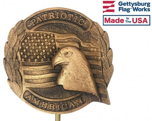 Patriotic American Bronze Grave Marker