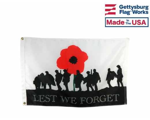 WWI Lest we Forget Poppy Flag