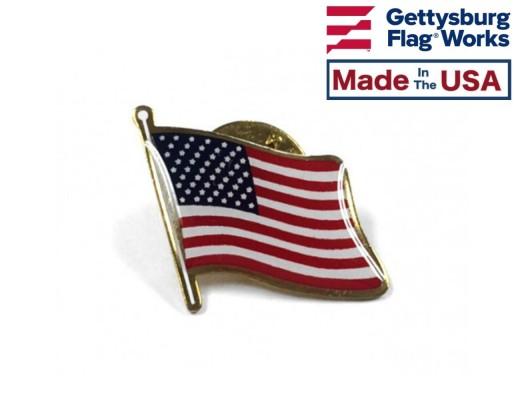 American flag waving lapel pin