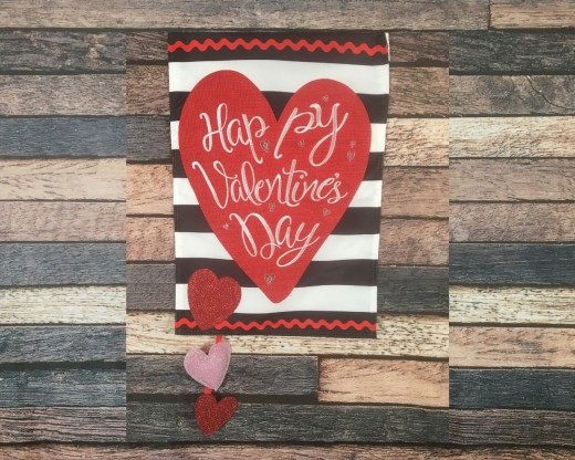 Valentine's Day Stripe Applique Garden Flag