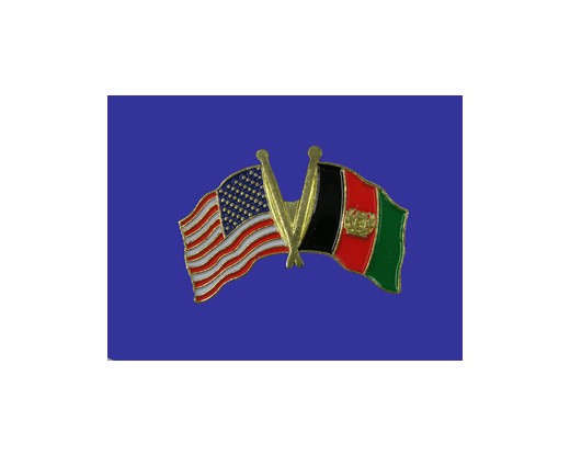Afghanistan Lapel Pin (Double Waving Flag w/USA)