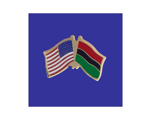 Afro-American Lapel Pin (Double Waving Flag w/USA)