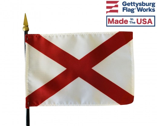 Alabama State Stick Flag - 4x6""