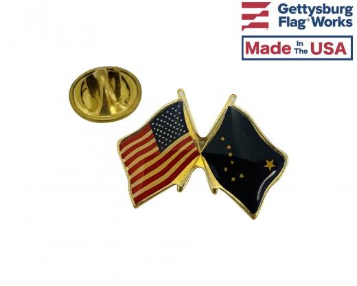 Alaska State Flag Lapel Pin (Double Waving Flag w/USA)