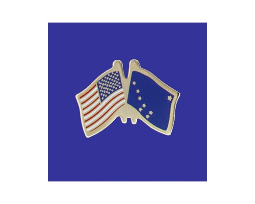 Alaska State Flag Lapel Pin (Double Waving Flag w/USA) (Imported - Close Out)