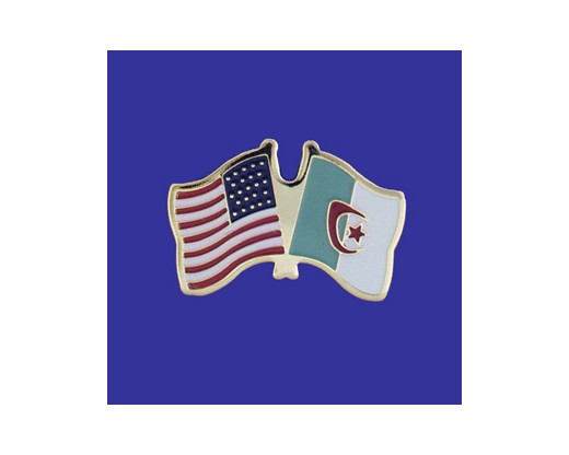 Algeria Lapel Pin (Double Waving Flag w/USA)