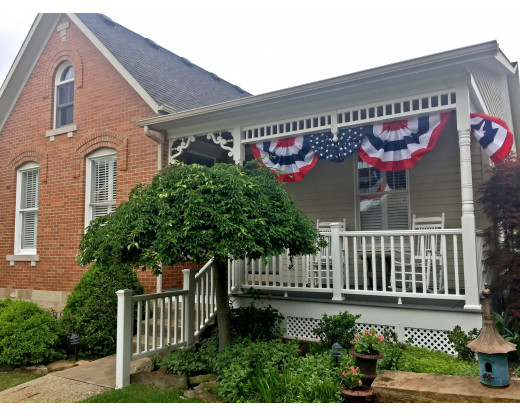The all star pleated fan from Gettysburg Flag Works displayed on an Ohio home