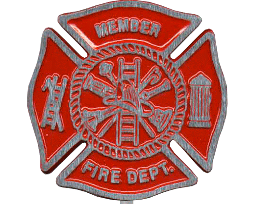 Red Aluminum Fire Department Grave Marker