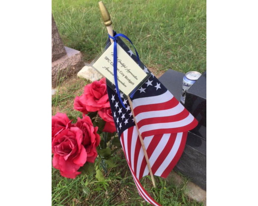 American stick flag on a grave