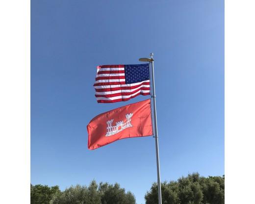 U.S. Army Engineer Flag with American Flag