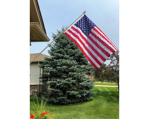 Silver Aluminum Flag Pole with Wood Ball Top