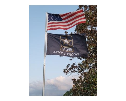 american flag and army strong flag
