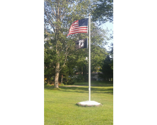 American & POW flag on pole