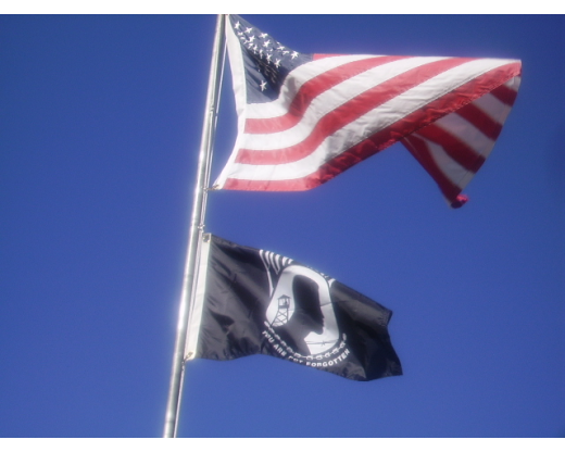 American flag and POW flag
