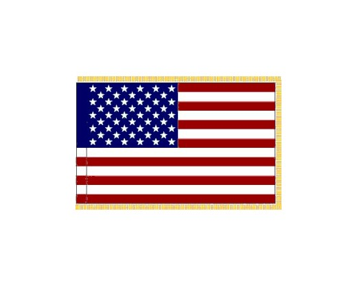 American Flag, Nylon, Pole Sleeve & Fringe - 5x8'