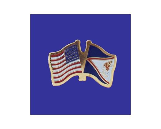 American Samoa Lapel Pin (Double Waving Flag w/USA) (Imported - Close Out)