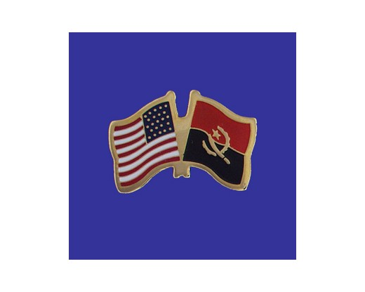 Angola Lapel Pin (Double Waving Flag w/USA)