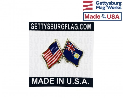 Anguilla Lapel Pin (Double Waving Flag w/USA)