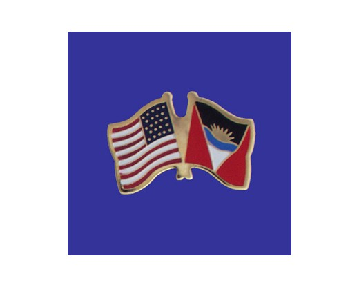 Antigua & Barbuda Lapel Pin (Double Waving Flag w/USA)