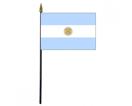 """Argentina Stick Flag (with seal) - 4x6"""""""
